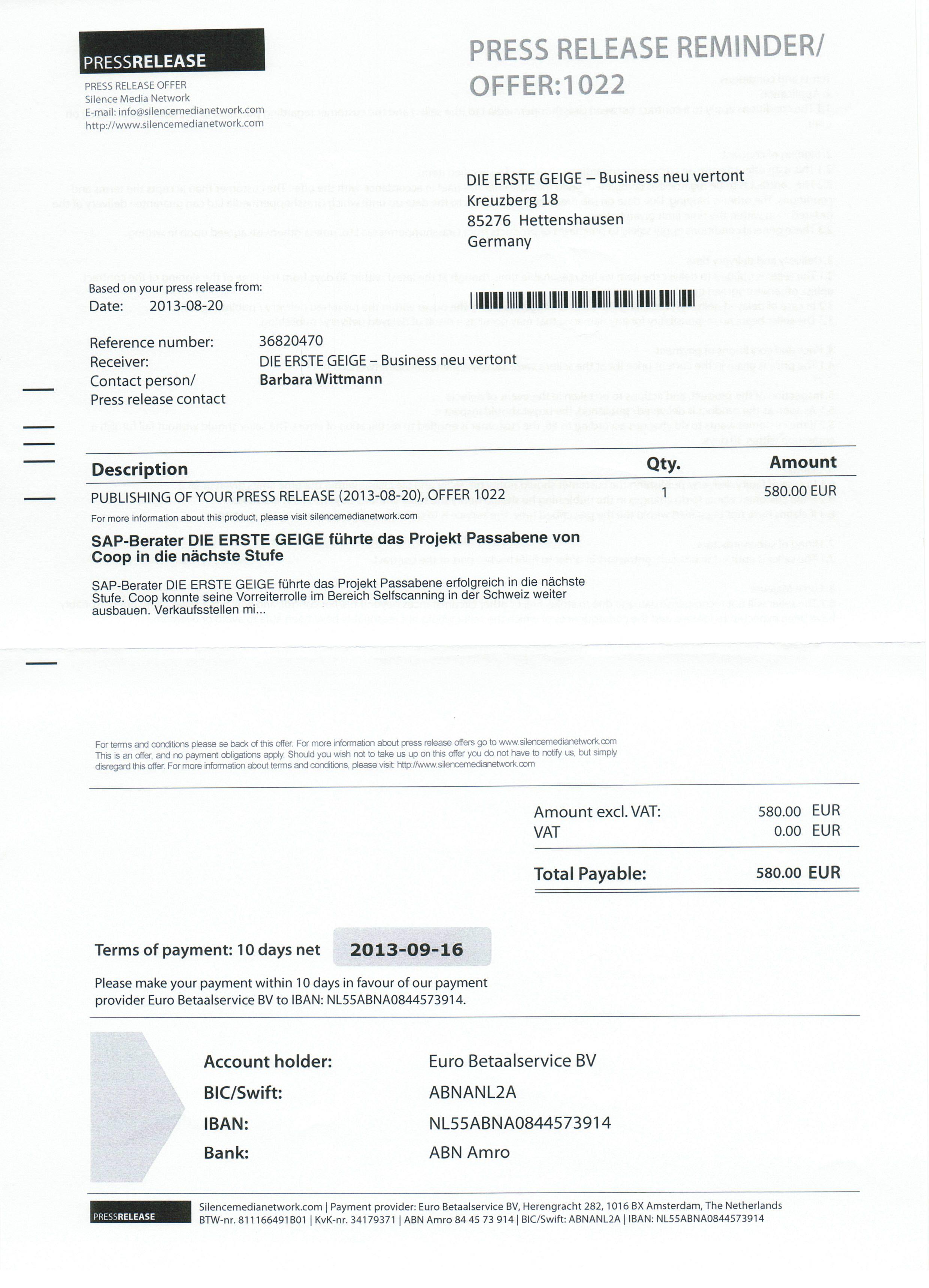 Fake-Rechnung an Agenturkunden