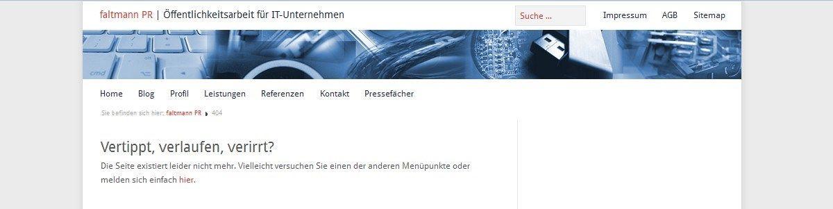 Screenshot Fehlerseite faltmann pr schm