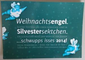 Weihnachtskarte 2013 mit dicken blauen Engeln