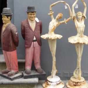 4 Skulpturen: Oliver Hardy und Balletttänzerin