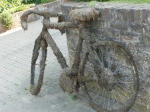zugewachsenes, zugemostes Fahrrad