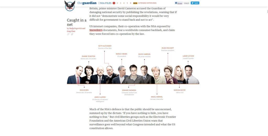 Viele Akteure, viele Fakten, ein Snowden: Der Guardian hat die NSA-Affäre multimedial aufbereitet, um Durchblick zu schaffen.