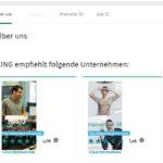 Leere Unternehmensseite auf XING zeigt Mitbewerber an
