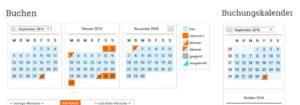 Der WP Simple Booking Calendar passt sich an und wird dreispaltig oder einspaltig dargestellt.