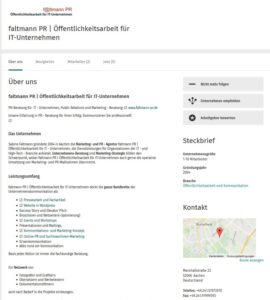 Screenshot Steckbrief faltmann PR