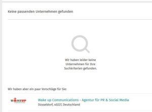 """Screenshot """"Keine passenden Unternehmen gefunden"""""""