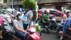 Moped mit Blumenkranz