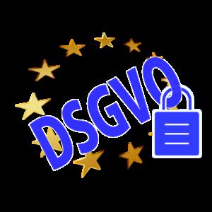 Schriftzug DSGVO mit goldenen Europasternchen und Vorhängeschloss