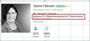 Screenshot Profilseite mit Link zum Unternehmensprofil