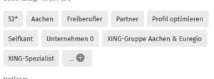 Beispiel für Tags: Freiberufler, XING-Gruppe, Unternehmen 0, XING-Experte usw.