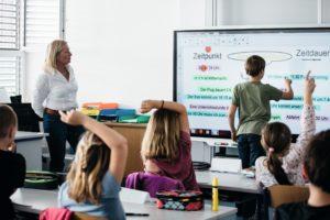 Schulklasse arbeitet gemeinsam am großen Smart Board