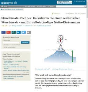 Screenshot vom Stundensatz-Rechner von akademie.de