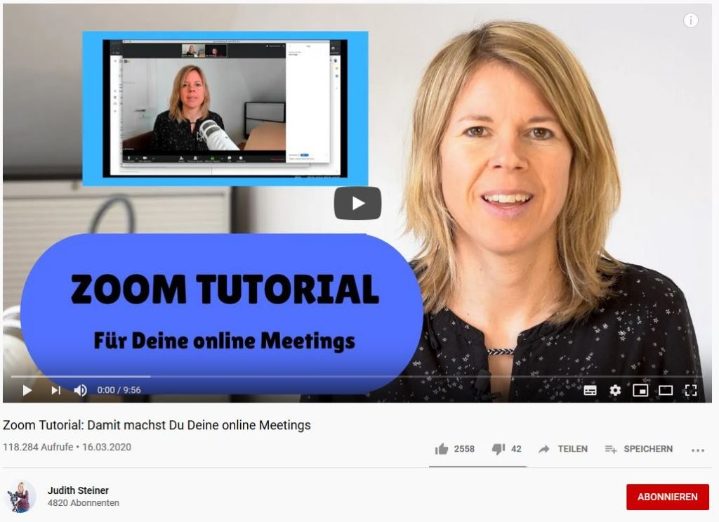 Zoom-Tutorial von Judith Steiner auf YouTube